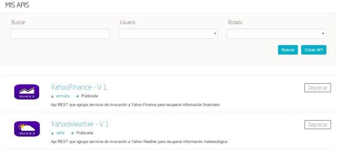 APIs Yahoo